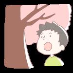 桜を見上げる男の子