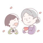 おにぎりを食べる子どもとおばあちゃん