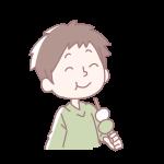 お団子を食べる男の子
