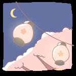 提灯と桜の木(夜)