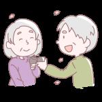 乾杯をする老夫婦
