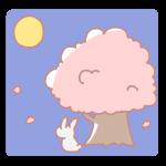 桜とウサギと満月