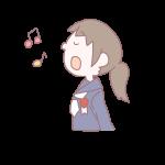 歌を歌う卒業生の女の子