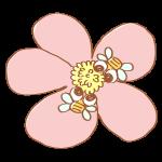 お花にとまる2匹のハチ