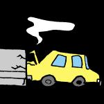 塀にぶつかる車