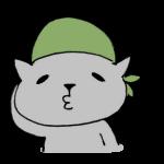 バンダナを頭に巻くネコ
