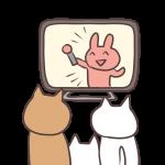 テレビを見るねこの親子