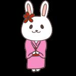 着物姿のウサギ