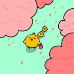 桜を見上げるヒヨコ