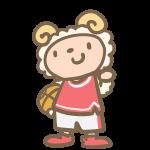バスケをする羊(赤)