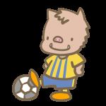 サッカーをする猪(黄色)