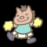猪のチアリーダー(水色)