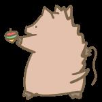 コマを回す猪