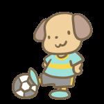 サッカーをする犬(水色)