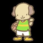 バスケをする犬(黄緑)