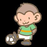 サッカーをする猿(緑)