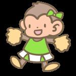 猿のチアリーダー(黄緑)