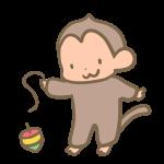 コマを回す猿