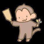 羽子板を持つ猿