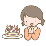 ケーキと女の子
