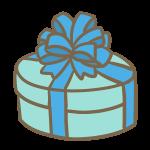 丸い箱のギフト(ブルー)