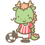 サッカーをする辰(赤)