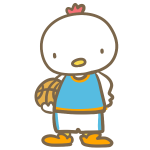 バスケをする鶏(青)
