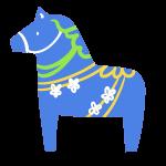 洋風の馬の置物(青)