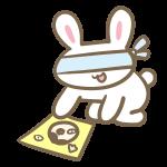 福笑いをやるウサギ