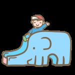 象さん滑り台と園児