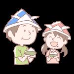 柏餅を食べる男の子と女の子