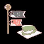 鯉のぼりと柏餅