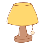 黄色いシェードのランプ