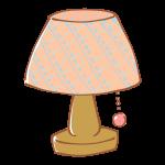 ピンクのチェック柄シェードのランプ