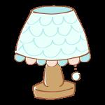フリルのついたシェードのランプ
