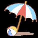 ビーチパラソルとビーチボール
