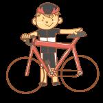 赤いロードバイクと男性