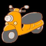 オレンジ色のスクーター
