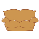 茶色のソファ