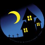 夜の家と墓