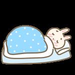 病気で寝込むウサギ