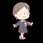 入学式で歩く女の子