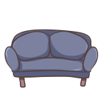 青のソファー