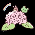 紫陽花から覗くカエルとかたつむり