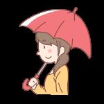 赤い傘をさす女性