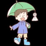 緑の傘をさした男の子