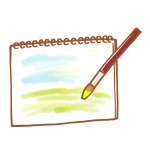 スケッチブックに描く水彩画