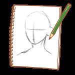 スケッチブックに描く鉛筆画
