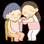 着替え介助をする女性介護士