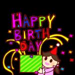 「HAPPYBIRTHDAY」の箱を持つ女の子